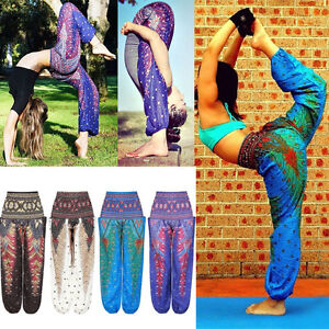 0d6fa4e473 Thai Flowy Comfy Yoga Beach Baggy Boho Gypsy Hippie Women Harem ...
