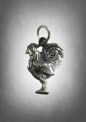 Rooster Nicklace Chinese Zodiac Gamecock Farm Chicken 925 Sterling Silver