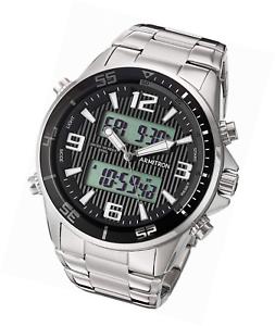 a7e6f343a9cf Armitron Men's 20/5182BKSV Analog-Digital Silver-Tone Bracelet Watch ...