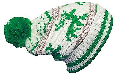 Long Knitted Beanie Bobble Hat Reindeer Ski Hat White and Green Unisex one size