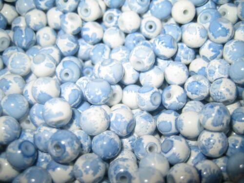 Cuentas de vidrio pintadas en Mix cuentas de vidrio 6 mm dos colores zafiro-Weiss 80 unid.