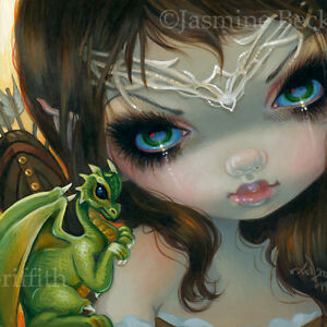Fairy-Face-221-Jasmine-Becket-Griffith-Dragonling-Archer-Faery-SIGNED-6x6-PRINT