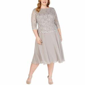 ALEX EVENINGS NEW Women's Plus Size Sequined Lace Mesh Dress TEDO