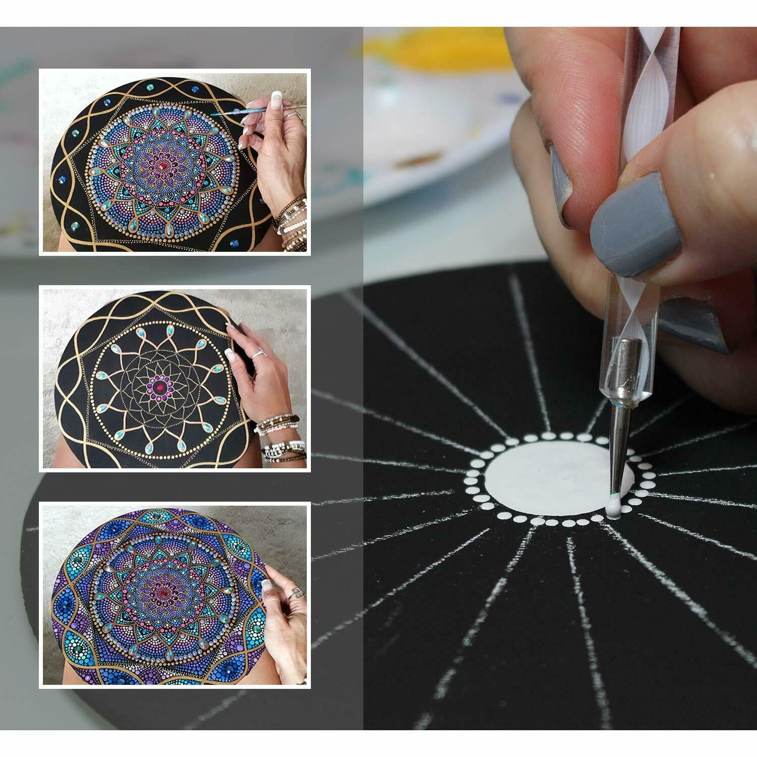 27 PCS Kits Stencil Painting Tools for Canvas Rocks Crafting and Drafting Art Supplies with Gemstone Sticker White Pencil Outline Brush Black Canvas Plastic Bracket Mandala Dotting Tools