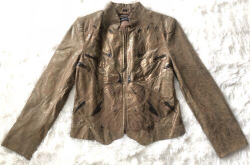 à glissière Pamela bronze pour cuir en en veste le devant fermeture papillon avec à motif sur 100 Mccoy femme r0n0qxBSR6