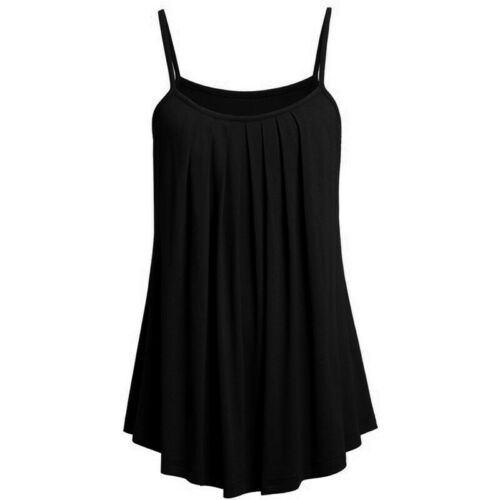 Womens Ladies Spaghetti Strap Solid Tops Pleated Loose Summer Beach Holiday Vest
