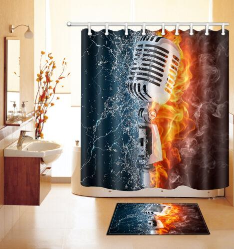 "72/""//79/"" Crazy Microphone Bathroom Fabric Shower Curtain /&Flannel Mat/&12Hook 2537"