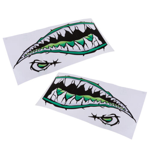 2Pcs Durable /& Adhesive Shark Teeth Mouth Sticker Kayak Fishing Boat Decals