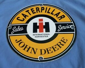 CATERPILLAR-JOHN-DEERE-PORCELAIN-VINTAGE-STYLE-TRACTOR-DEALERSHIP-SERVICE-SIGN