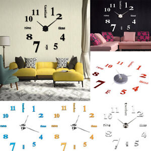 Friendly Large 50cm Diy Sticking Wall Clock English Letter Number Acrylic 3d Mirror Clock Watch Home Office Decor Sticker Clock Drop Ship Alarm Clocks