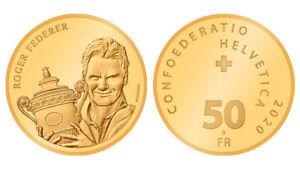 Roger-Federer-PP-polierte-Platte-Proof-Gold-Muenze-Coin-50-Fr