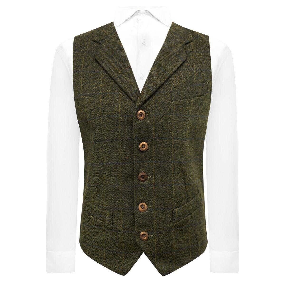 Luxury Juniper Green Herringbone Check Waistcoat with Lapel, Tweed