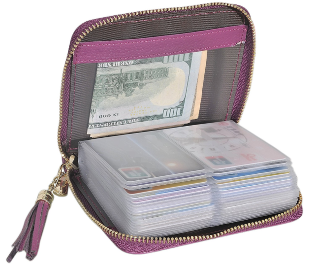 Womens Zipper Leather Case Purse RFID Block Easyoulife Credit Card Holder Wallet