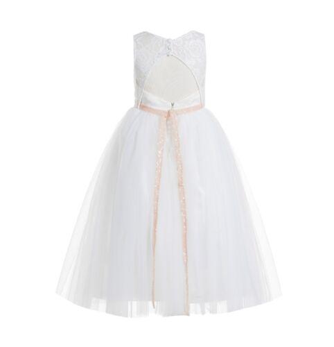 Lace Scoop Neck Keyhole Back Ivory A-Line Flower Girl Dresses Communion Dress