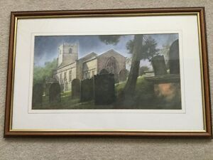 Lovely-Framed-Picture-By-Peter-Holt-of-St-Michael-amp-St-Lawrences-Church-Fewston