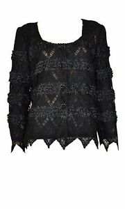 Pretty-Angel-Black-Lace-Cardigan-Sweater-Top-Vintage-style-handkerchief-sleeve