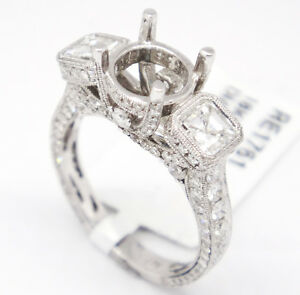 18k White Gold VVS1,F 2.76tcw Three Stone Engagement Accent Semi Mount Ring 6.5