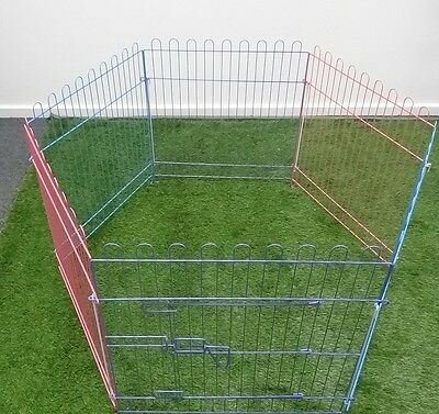 6 Panel Metal Play Run Cage Pet Dog Puppy Pen Rabbit Guinea Pig Cat New Colorful