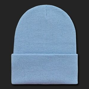 c439db13bedf1 Light Blue Knit Beanie Hat Cap Skull Snowboard Winter Warm Ski Hats ...