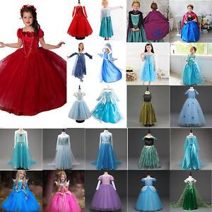 Girl-Frozen-Dress-Anna-amp-Elsa-Princess-Party-Fancy-Dress-Up-Cosplay-Costume-Lot