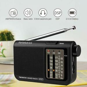 Retekess V-117 3 Band FM//AM//SW Portable Emergency Radio Receiver Battery Power