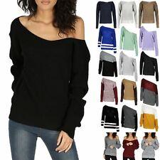 Womens Oversized Off the Shoulder Chunky Knit Jumper Ladies V Neck Bardot Top