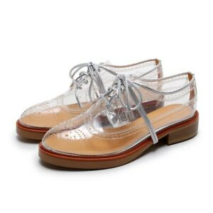 Womens-Transparent-Lace-Up-Oxfords-Brogue-Spring-Shoes-Pumps-Chunky-Heel-2019