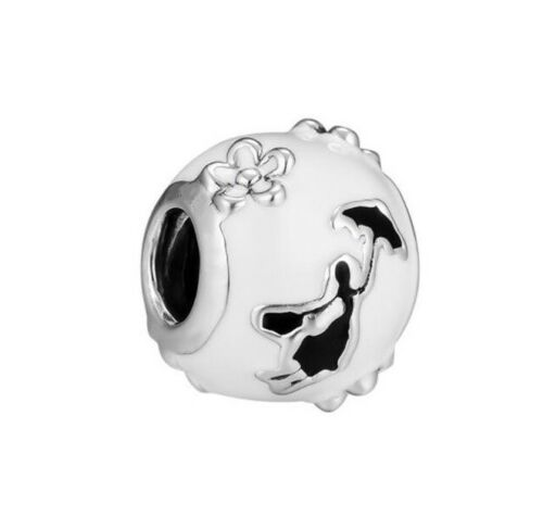 European Charm With Pink Gift Pouch Mary Poppins Disney Silver Tone