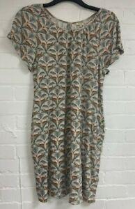 Ex Fat Face Leopard Motif Tunic Dress Size 16 (G2.33)