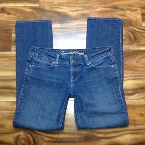 American-Eagle-77-Straight-Jeans-Size-6-Womens-Medium-Wash-Stretch-Denim