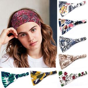 Women-Yoga-Wide-Headband-Cotton-Turban-Bandana-Floral-Print-Hair-Band-Head-Wrap
