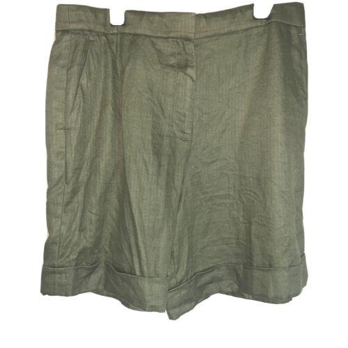 J. Crew green linen bermuda shorts size 10