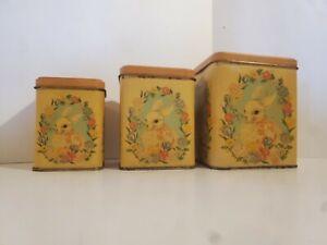 Vintage Empty Tin Box Set Bunny With Flowers