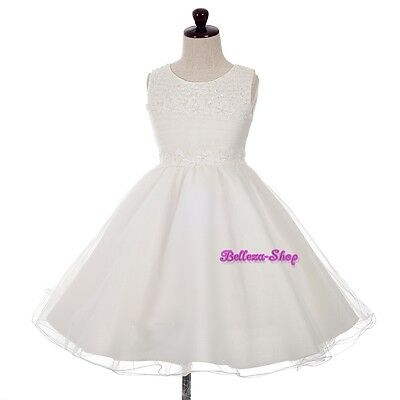 Pearl Flower Girl Dress Wedding Communion Pageant Occasion Party Ivory 2T-10 260