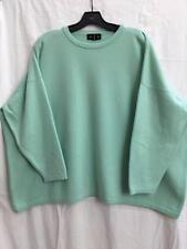 Eskandar O/S 1x 2x  Light Aqua 100% Cashmere Boxy Crew Neck Sweater- Cleaned