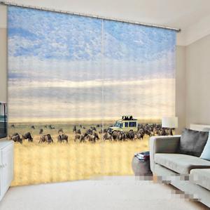 3D-Kuh-Auto-Natur-8-Blockade-Foto-Vorhang-Druckvorhang-Vorhaenge-Stoff-Fenster-DE