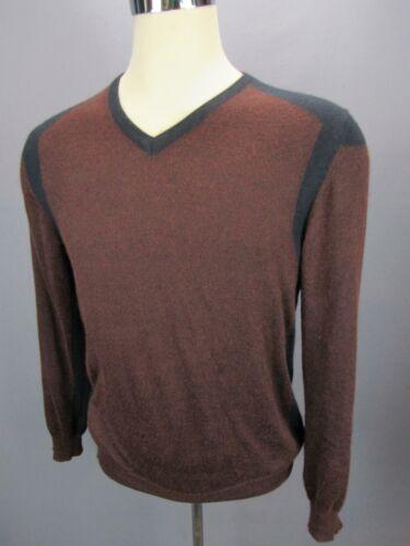 Belstaff Brown Black Trim V-Neck Cashmere Silk Men