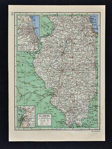 Illinois Chicago Map.C1949 Britannica Map Illinois Chicago Springfield Peoria Decatur