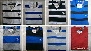 New-With-Tags-Abercrombie-amp-Fitch-Tee-T-Shirt-V-Neck-Striped-Mens-Size-S-amp-M-amp-L-amp-XL