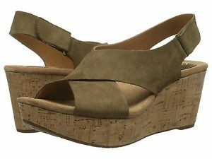 38b41398328a Women s Clarks Artisan Wedge Sandal Caslynn Lizzie Shae Khaki Nubuck ...