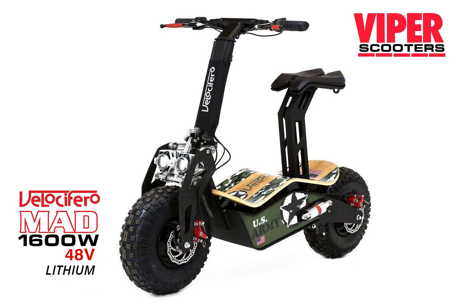 Velocifero Mad New 2019, 1600W 48V Lithium  Electric Scooter, ARMY, VS