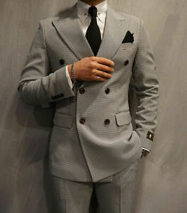 Khaki-Houndstooth-Men-039-s-Suits-Tuxedo-Business-Double-Breasted-Plus-34-60-Custom