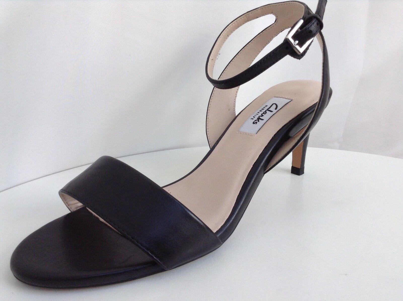 Clarks Womens Amali Jewel Black Leather Sandals size UK 4.5D