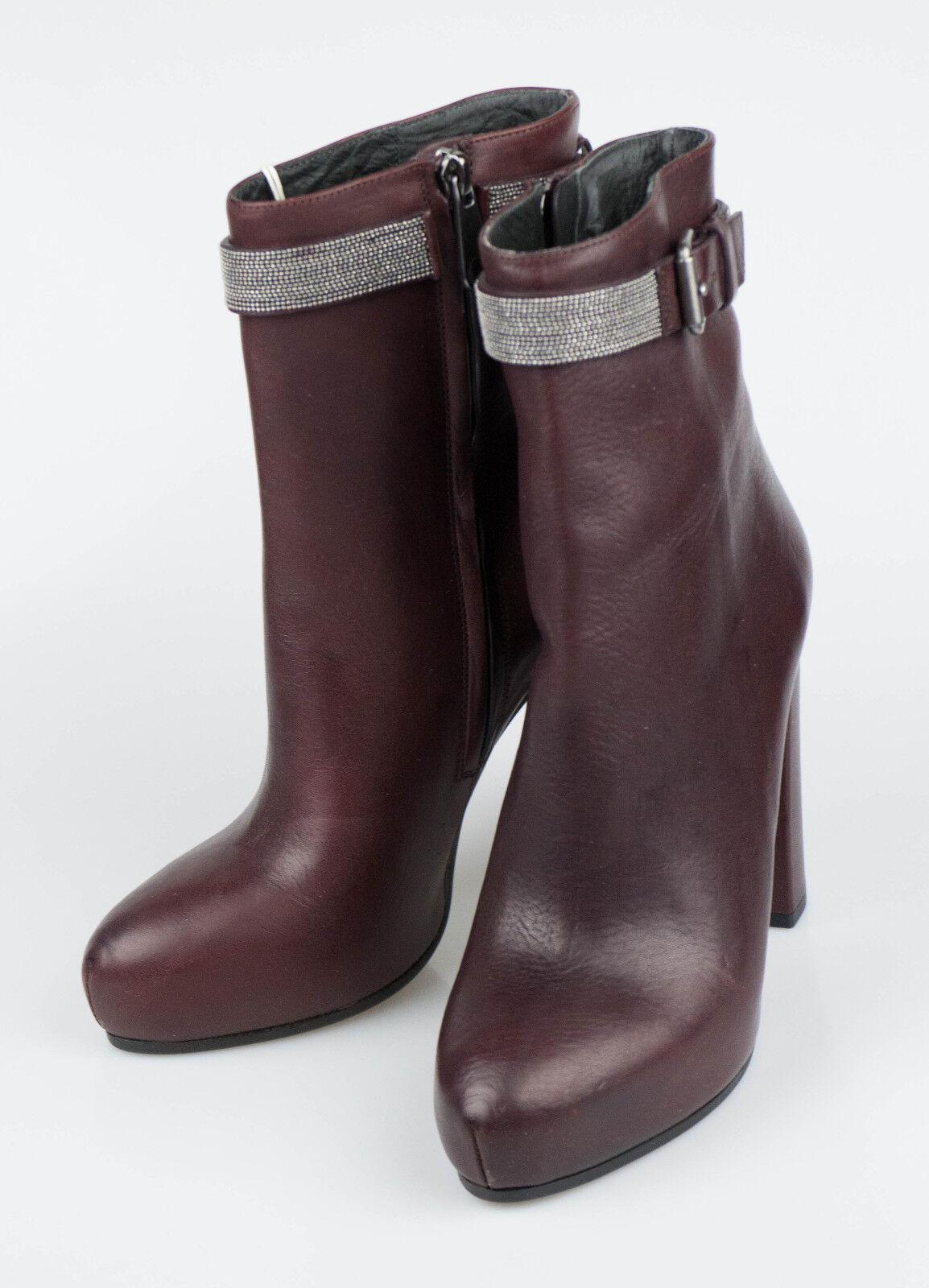 risparmia fino al 30-50% di sconto New. BRUNELLO CUCINELLI viola Leather avvioies Heels stivali scarpe 7 7 7 37  1970  scelte con prezzo basso