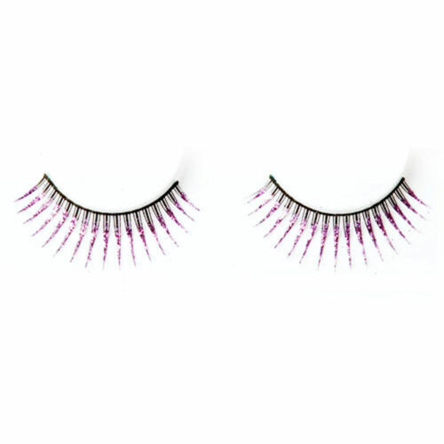 Light Pink Glitter Tipped Deluxe False Eyelashes with glue
