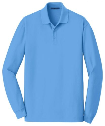 MEN/'S SHRINK,WRINKLE,FADE,PILL RESISTANT XS-4XL LONG SLEEVE COTTON PIQUE POLO