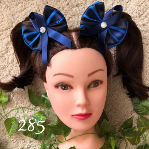 x2 Handmade school hair bows child/'s clips bobbles kids accessories boy girls