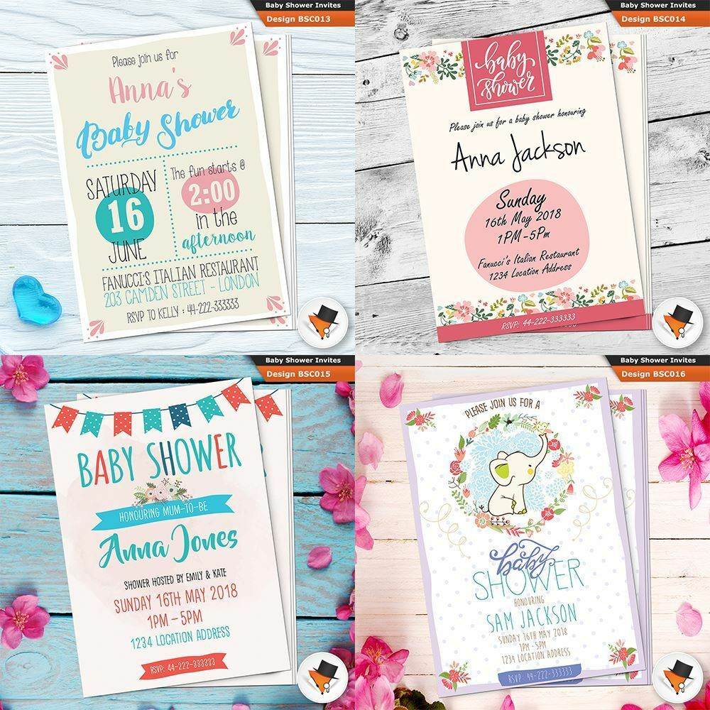 Personalised Baby Shower Party Invitations Invites For Boy Blau Elephant Bd88ce