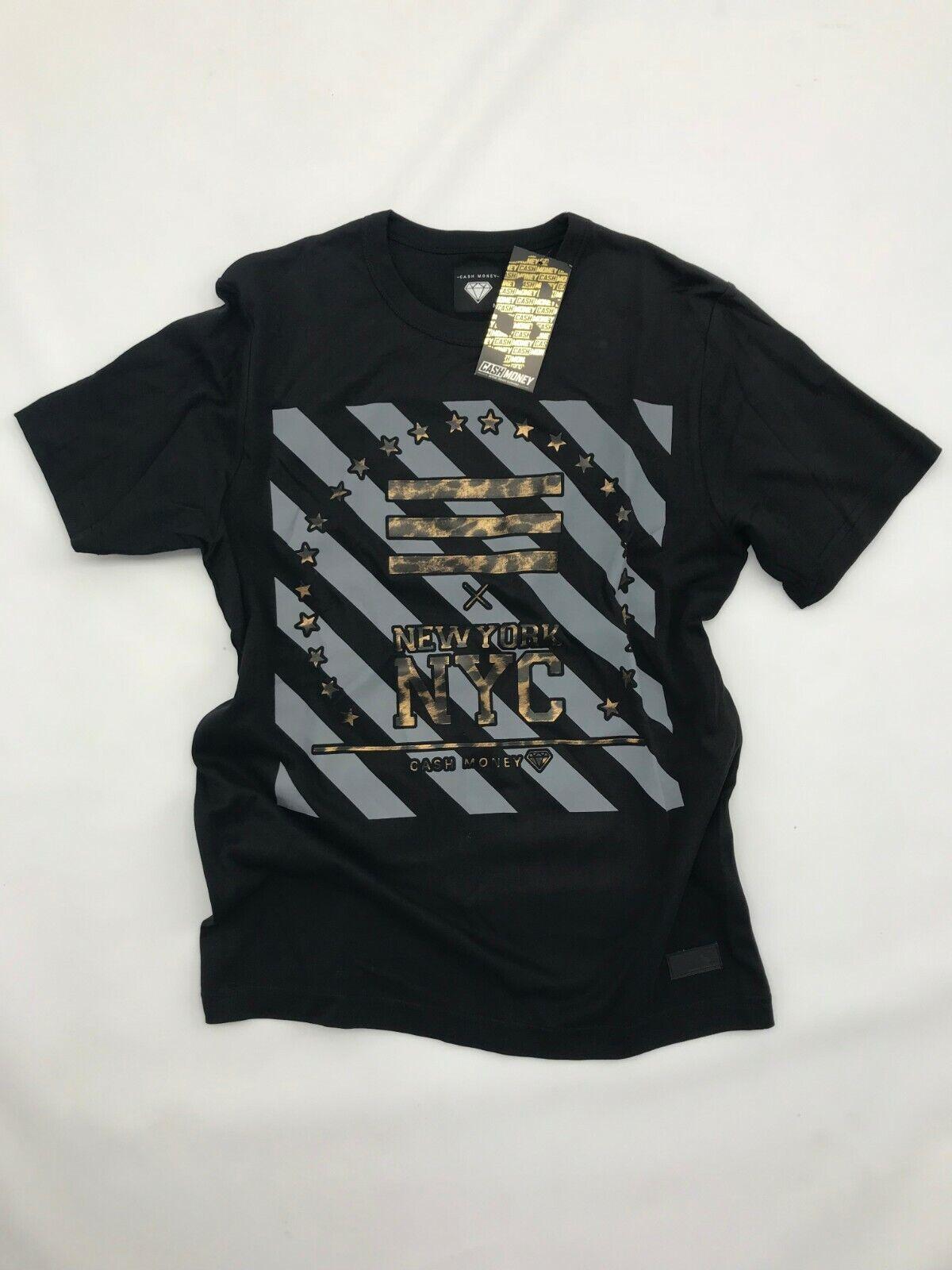40181279 Cash Money Herren T-Shirt NYC Print schwarz gold grau