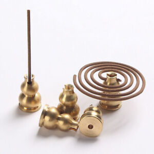 Brass-Buddhist-Gourd-Incense-Burner-Holder-Catcher-For-Coil-Sticks-Incense